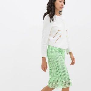 New Zara Guipure Mint Green Pencil Skirt Small